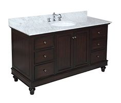 Kitchen Bath Collection KBC655CARR Bella Single Sink Bathroom Vanity with Marble Countertop, Cabinet with Soft Close Function and Undermount Ceramic Sink, Carrara/Chocolate, 60""