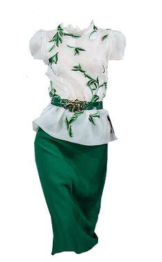Oscar de la Renta Green Drees Edited by @lovely-fashion-designs