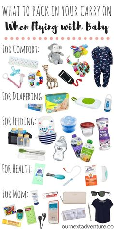 Flying with Baby: Pack these items in your carry on and guarantee a smooth travel day! // Travel with Kids Family Travel What to Pack Travel Tips With Baby, Traveling With Baby, Travel With Kids, Family Travel, Baby Plane Travel, Traveling Tips, Family Vacations, Traveling Europe, Vacation Places