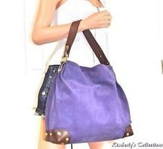 cf8d77e7f5630e MICHAEL KORS Joplin Hobo Purple Suede Leather Shoulder Bag Tote Bag Purse  NWT