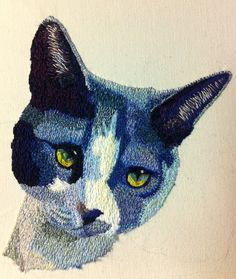 Hand Embroidered Cat Portrait by Katherine Dimond