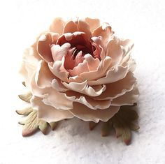 "Polymer clay jewelry brooch. Cream - beige -  soft pink - brown peony brooch ""Vintage lace"" .Clay flower brooch."