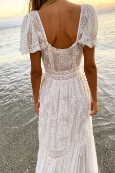 Visualizing all that makes us happy. sweet sunsets, sand on our toes, and white lace dresses 🤍 Our sweetest new beauty, how we love you… White Lace Maxi Dress, Lace Dresses, Bohemian White Dress, Simple White Dress, Beautiful White Dresses, White Dresses For Women, Boho Wedding Dress, Wedding Sundress, Boho Bride