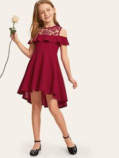 To find out about the Girls Guipure Lace Cold Shoulder Ruffle Trim Dress at SHEIN, part of our latest Girls Dresses ready to shop online today! Girls Dresses Online, Cute Girl Outfits, Kids Outfits Girls, Little Girl Dresses, Girls Dresses Size 8, Girls Fashion Clothes, Girl Fashion, Fashion Dresses, Belted Dress