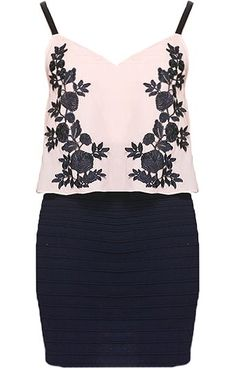 Botanical Twofer Dress: Features adjustable spaghetti straps crowning a feminine V-neckline, lined nude chiffon overlay to the bodice peppered with contrast vine embroidery, and a grooved navy blue pencil skirt to finish.