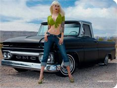 classic car Trucks And Girls, Car Girls, Pin Up Girls, Sexy Cars, Hot Cars, Blonde In Front, Vintage Pin Ups, Sport Truck, Brazilian Body Wave