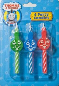 Decopac Thomas & Friends Icon Birthday Candles by Decopac. $6.10. Package contains 2 each of 3 different colored candles with fun icons. 6 Party Candles. Perfect detail to complete a theme party. From the Manufacturer                The shining faces of Thomas, Percy, and James will light up your child's face when you present a birthday cake with these special Thomas and Friends licensed candles.                                    Product Description                Packag...