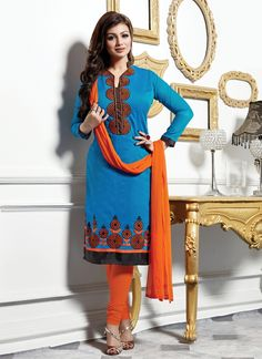 Add the sense of feminine beauty by this Ayesha Takia blue cotton   churidar designer suit. The lovely embroidered and lace work throughout the attire is awe inspiring. Comes with matching bottom and ...