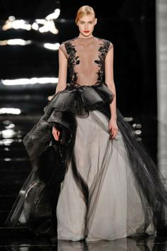 Another beautiful Reem Acra gown showing the black & white trend for spring 2013 and forward