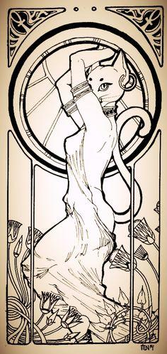 Bastet (egyptian goddess) by schonheit.deviantart.com on @DeviantArt