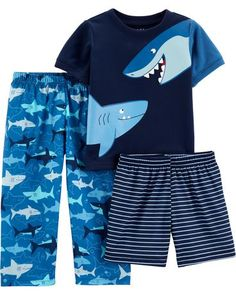 Carter's Child of Mine by Short sleeve t-shirt, shorts, and pants, 3 piece pajama set (toddler boys) Baby Boy Pajamas, Cute Pajamas, Carters Baby, Kids Nightwear, Boys Sleepwear, Boys Summer Outfits, Boy Outfits, T Shirt And Shorts, Boy Shorts