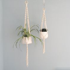 the spiral crown macrame plant hanger natural cotton in 2 sizes natural cotton black or grey
