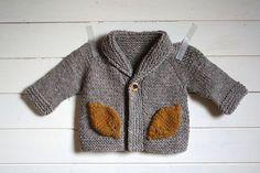 Grey knit autumn leaf cardigan - ittybitty