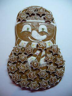 Adventní kalendář - sněhulák III Cookie Decorating, Christmas Cookies, Advent, Gingerbread, Party, Kids, Pictures, Xmas, Ginger Beard