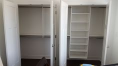 White melamine reach-in closet with adj. shelves and hanging.
