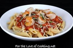 Garlic Basil Shrimp with Penne in a Spicy Basil Marinara — Punchfork