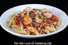 Garlic Basil Shrimp with Penne in a Spicy Basil Marinara — Punchfork