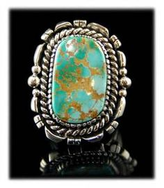 Beautiful Navajo Royston Turquoise Mens Ring By Ben Yazzie for sale on eBay at $330.00 by www.gemstone-silver-jewelry.com