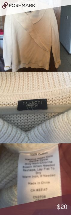 Talbots 1X women's cotton cross over sweater. Great condition, this is a light cream. Poshmark does not let me describe style so I chose closest. This is a pullover soft heavy weight cotton. Not a turtle or cowl neck but has the collar. See pics and let me know if you want more. My mother got this and it was a little big for her and little small for me. I like to wear mine bigger and loose. Would look great with jeans or any color with dress pants for work Sweaters Cowl & Turtlenecks