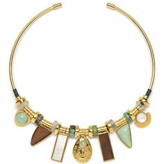 Rental Lizzie Fortunato Azure Seas Collar (50.075 CLP) ❤ liked on Polyvore featuring jewelry, necklaces, pendant necklace, wooden pendant necklace, 18 karat gold necklace, geometric necklace and long geometric necklace