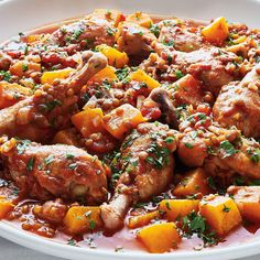 Chicken Drumsticks In Tomato And Lentils Lentil Recipes, Meat Recipes, Wine Recipes, Chicken Recipes, Cooking Recipes, Healthy Recipes, Healthy Meals, Ricardo Recipe, Chicken And Butternut Squash