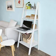 Buy Haotian Modern Ladder Bookcase Made . - New Haotian Modern Ladder Bookcase Made of Wood, Book Shelf,Stand Shelf, Wall Shelf Fur - Desks For Small Spaces, Small Home Offices, Small Space Living, Small Apartments, Desks For Home, Desk In Small Space, Small Office Desk, Office Set, Desk Space