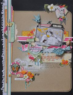By DT member Emma Trout using Webster's Pages Sunday Picnic for Feb GDT lift. Love the randomness of this layout!