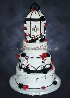 Black, white & red Bird cage Cake Art