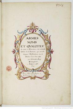 A delicate and fancy frame from 'Armes, noms et qualités de touts les chevaliers du tres noble ordre de la Jartiere...' 1601-1700