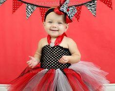 Hot bebé rosa y negro vestido del tutú tutú rosa niño negro