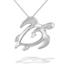 4a9610ac1ba0 White Gold Honu Heart Pendant with Diamond (Chain Included) Želvy