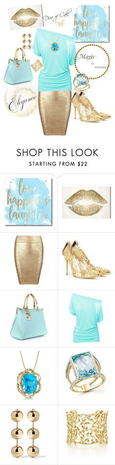 """Tiffany blue and Gold"" Diva of Cake on Polyvore featuring Courtside Market, Oliver Gal Artist Co., Posh Girl, Oscar de la Renta, Roberto Cavalli, Allurez, Bloomingdale's, Balenciaga and Paloma Picasso"