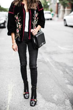DETAILS: SUEDE EMBROIDERED JACKET (ZARA – OLD – SIMILAR HERE AND HERE) | WHITE BODYSUIT (WEARING SIZE SMALL) | BLACK DISTRESSED DENIM (SIMILAR UNDER $100 HERE) | BLACK EMBELLISHED BOOTI…