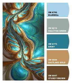 Paint colors from ColorSnap by Sherwin-Williams - bedroom color schemes Color Schemes Colour Palettes, Paint Color Schemes, Colour Pallette, Color Combos, Brown Color Palettes, Peacock Color Scheme, Room Colors, House Colors, Colours