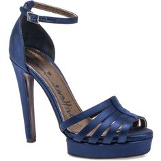 Lanvin Salome Sandal (€530) ❤ liked on Polyvore featuring shoes, sandals, heels, navy blue, platform heel sandals, heeled sandals, platform sandals, navy blue sandals and navy shoes