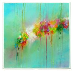 """Abstract painting landscape original Acrylic painting by M.Schöneberg """"Flower Power""""24x24x0,75 SHIPPING Express"""