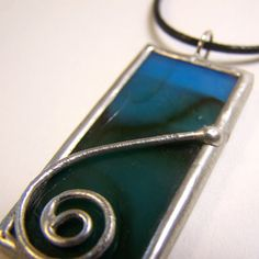 Deep Blue Sea Stained Glass Pendant with Black cord by faerieglass