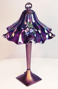 *FENTON ART GLASS ~ Hand Painted Carnival Glass Ruffled Shade Lamp