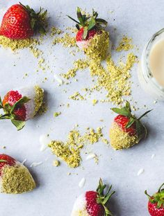 Vegan Coconut Butter Dipped Strawberries with Pistachio Dust, food photography, food styling