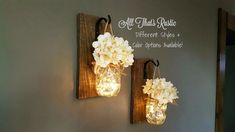 Rustic Home Decor, Home & Living, Set of 2 Hanging Mason Jar Sconces with Hydrangeas, Mason Jar Decor, Lighted Mason Jars, Mason Jar Sconce by AllThatsRustic on Etsy https://www.etsy.com/listing/291166227/rustic-home-decor-home-living-set-of-2