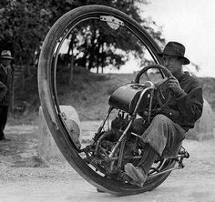 One Wheel Motorcycle that could hit a top speed of 93 MPH. Invented by Italian M. Goventosa de Udine, 1931.