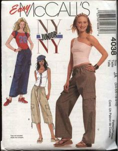 Items similar to McCall's Junior's Skirt and Pants In Two Lengths Pattern 4038 on Etsy Mccalls Sewing Patterns, Vintage Sewing Patterns, Clothing Patterns, Sewing Ideas, Sewing Diy, Clothing Ideas, Sewing Projects, Delias Clothing, Decades Fashion