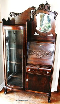 Gorgeous American Antique Drop Front Oak Secretary Desk Side By Bookcase 1900 1950 Photo