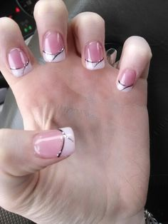 French manicure with design and gel on top
