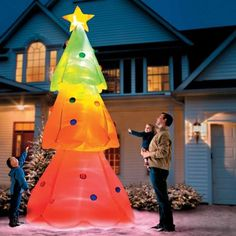 Our Giant Inflatable Color-Changing Christmas Tree puts on a dazzling light show. Inflatable Christmas Tree, Christmas Yard, Christmas Lights, Xmas, Holiday Ornaments, Winter Christmas, Christmas Stockings, Merry Christmas, Navidad