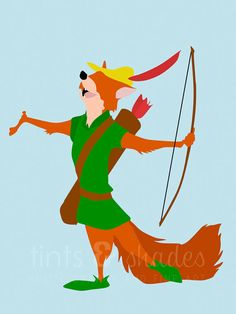 Robin Hood Minimalist Poster by TintsShadesFineArt on Etsy Robin Hood Animated, Robin Hood Cartoon, Minimalist Painting, Minimalist Poster, Cute Disney, Disney Dream, Disney Pixar, Walt Disney, Cartoon Movie Characters