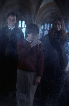 Harry Potter and the Sorcerer's Stone - Publicity still of Adrian Rawlins, Daniel Radcliffe & Geraldine Somerville Harry James Potter, Harry Potter Film, Harry Potter Fandom, Harry Potter World, Lily Potter, Daniel Radcliffe, Voldemort, Geraldine Somerville, Hogwarts