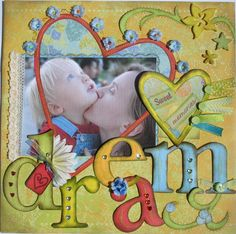 dream scrapbook page layout...love the heart frame!