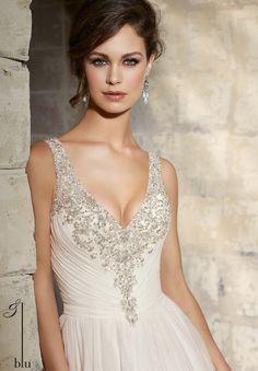 Mori Lee Blu 5374 Wedding Dress Lace Beaded Sleeveless Ruched V-Neck - ,