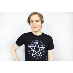 AndroidSheepFTW Supernatural Devil's Trap Tee Shirt Sizes Small-2xl... ($14) ❤ liked on Polyvore featuring tops, t-shirts, grey, women's clothing, unisex tops, gray top, logo tee, grey t shirt and screen print tees